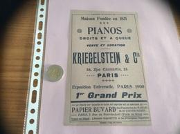 "Buvard ""KRIEGELSTEIN & Cie PARIS - PIANOS"" (musique) - Buvards, Protège-cahiers Illustrés"