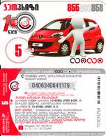 GEORGIA - Peugeot 107, Geocell Prepaid Card 5 GEL, Used - Georgia