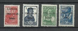 LITAUEN Lithuania 1941 ZARASAI Zargrad German Occupation Michel 1 - 2 & 4 - 5 MNH - Lithuania