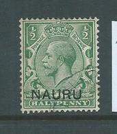 Nauru 1916 - 1923 KGV Overprints At Base 1/2d Green FU - Nauru