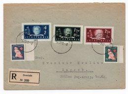 1948 YUGOSLAVIA, SLOVENIA, CROATIA, DOMZALE TO ZAGREB, REGISTERED MAIL, 2 RED CROSS STAMPS - 1945-1992 Socialist Federal Republic Of Yugoslavia