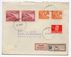 1950 YUGOSLAVIA, SLOVENIA, AUSTRIA, TITO, REGISTERED EXPRESS LETTER, TRZIC TO STEIERMARK - Covers & Documents