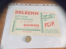 """Buvard """"DELBENN OPTIQUE ORTHOPEDIE - VERRES CLAIRS FLIP - QUIMPER (29)"""" - Blotters"""
