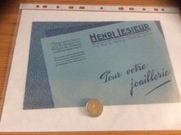 """Buvard """"HENRI LESIEUR - BIJOUTIER JOAILLIER - PARIS"""" - Buvards, Protège-cahiers Illustrés"""