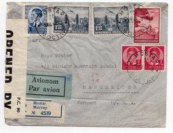 1940 YUGOSLAVIA, USA, BOSNIA, MOSTAR TO MANCHESTER - VERMONT, CENSORED BY USA, AIR MAIL REGISTERED, - 1931-1941 Königreich Jugoslawien