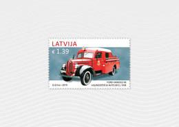 Fire Truck LATVIA / LETTLAND 2019 Old Car History Automobile 1938 FORD - VAIROGS V8  MNH - Brandweer