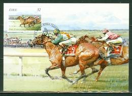 Chevaux; Course De Chevaux En Irlande / Horse Racing. Timbre Scott Stamp # 1003. Carte Maximum Card. (4604) - Cartoline Maximum