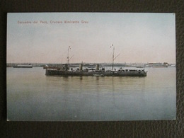 Antique Tarjeta Postal - Peru Perou - Escuadra Del Peru Crucero Almirante - Grau - Polack-Schneider Lima N°178 - Marine - Pérou