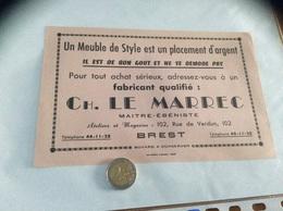 Buvard «MAITRE ÉBÉNISTE - CH. LE MARREC - BREST (29)» - Buvards, Protège-cahiers Illustrés