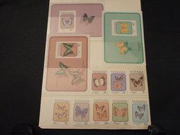 TANZANIA - 1991 FARFALLE 4+4 VALORI + 3 BF - NUOVI(++) - Tanzania (1964-...)