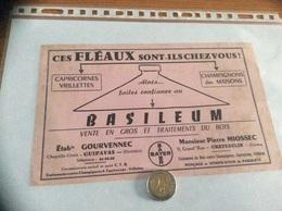 Buvard «BASILEUM - TRAITEMENTS DU BOIS - BAYER - Pierre MIOSSEC - CHATEAULIN (29) / Etab GOURVENNEC - GUIPAVAS (29» - Buvards, Protège-cahiers Illustrés