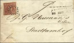 1852  6 Kr.  Auf Faltbrief Von Augsburg Nach Stadtamhof - Bavière