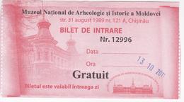 Moldova , Moldavie ,  National Museum Of History , Museum Ticket , 2011 , Used - Tickets D'entrée