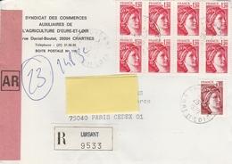 1974 1.20F. Sabine En Bloc De 8 S/ L.R. Du 26/7/79 De LUISANT (28) - 1977-81 Sabine Of Gandon