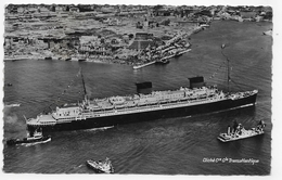 (RECTO / VERSO) PAQUEBOT LIBERTE EN 1952 - CLICHE AERIEN Cie GENERALE TRANSATLANTIQUE - CACHET HEXAGONAL - FORMAT CPA - Dampfer