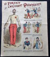 Caricature LE FORFAIT DE L'ADJUDANT QUINTÉSIXTE, Escrime  Par DRANER - Oude Documenten