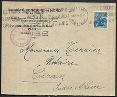 LF C10  Enveloppe De 1928 De Tours Timbre N°257 - Poststempel (Briefe)