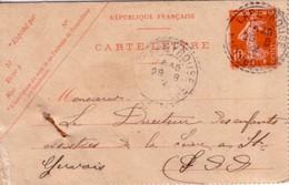 PUY DE DOME - LAPEYROUSE T84 DU 28-8-1912 SUR  ENTIER POSTAL10c SEMEUSE - INDICE 6. - Marcophilie (Lettres)