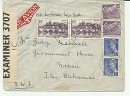 Lettre Avec Censure 1942  Unieux(loire) Pour Nassau Bahamas - Postmark Collection (Covers)