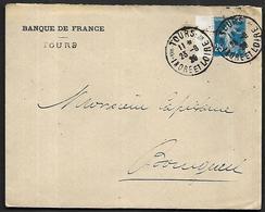 LF C16  Enveloppe De 1920 De Tours Timbre N°140a Bleu Foncé - Poststempel (Briefe)