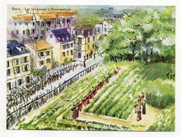 PARIS 18° --Montmartre-illustrateur A.LE FAOU--Les Vendanges à Montmartre--carte Publicitaire........... à Saisir - Arrondissement: 18