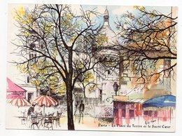 PARIS 18° --Montmartre-illustrateur A.LE FAOU--La Place Du Tertre Et Le Sacré Coeur----carte Publicitaire....à Saisir - Distrito: 18