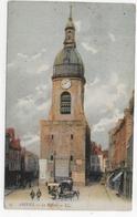 (RECTO / VERSO) AMIENS EN 1907 - N° 47 - LE BEFFROI AVEC ATTELAGE ET PERSONNAGES - BEAU CACHET - CPA COULEUR VOYAGEE - Amiens