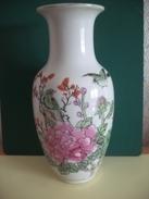145 - Vase Chinois - Décor Fleurs Et Oiseaux - Zhongho Chao Cai - Années 70 - Art Asiatique