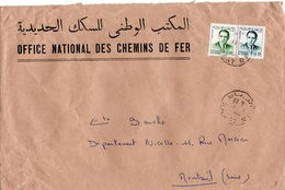 LSC - Entête  OFFICE NATIONAL DES CHEMINS DE FER & Cachet RABAT Sur Timbres - Morocco (1956-...)