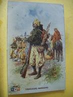 L14 1191 CPA UNIFORME - TIRAILLEURS MAROCAINS PAR ILLUSTRATEUR LEON HINGRE. 1915. PUB VERSO. J.ROSEN AMIENS. CAFE JIHAIR - Uniformi