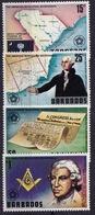 Barbados (Sc #440-43) MNH (Complete Set Of 4) American Bicentennial & Masons (1976)2s - Barbados (1966-...)