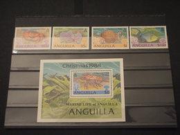 ANGUILLA - 1988 FAUNA  4 VALORI + BF - NUOVI(++) - Anguilla (1968-...)
