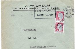 LSC 1963 - Entête J. WILHELM Strasbourg Et Mulhouse & Oblitération Linéaire ST MAURICE SEINE - Manual Postmarks