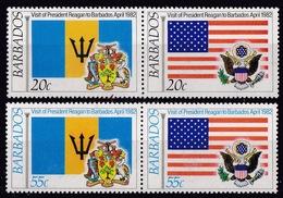 Barbados (Sc #582a-584a) MNH (Complete Set Of 2 Pairs) Visit Of President Reagan To Bahamas (1982) - Barbados (1966-...)