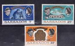 Barbados, 1968, SG 375 - 377, MNH - Barbados (1966-...)