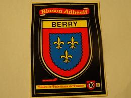 Blason écusson Adhésif Autocollant  Carte Postale Berry Adhesivo Escudo Adesivi Stemma Aufkleber Wappen - Obj. 'Souvenir De'