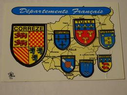 Blason écusson Adhésif Autocollant  Carte Postale Corrèze Départements Et Communes Adesivi Stemma Aufkleber Wappen - Obj. 'Souvenir De'