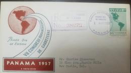 O) 1957 PANAMA, DEGREE CONGRESSO INTERAMERICANO DE CARRETERAS - MAP OF AMERICAS SHOWING PAN- AMERICANO HIGHWAY, FDC XF R - Panama