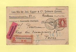 Suisse - Soleure - Carte Postale En Recommande Contre Remboursement Destination Paris - Steingruben - 1908 - Rare - Covers & Documents