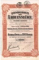 Titre Ancien - Fonderies De Labuissière - Société Anonyme - Titre De 1928 - - Industrie
