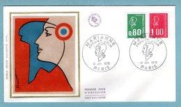 FDC France 1976 -  Marianne De Bequet 1976 - YT 1891 & 1892 - Paris - FDC
