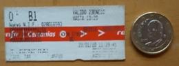 RENFE ESPAÑA.TICKET DE CERCANIAS. - Trenes