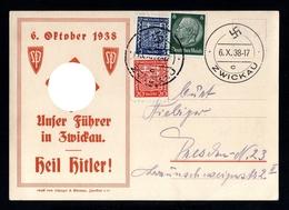03-GERMAN EMPIRE-MILITARY PROPAGANDA POSTCARD Visit FUHRER Zwickau.1938.WWII.Wien.DEUTSCHES REICH.POSTKARTE - Germany