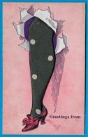 Rare CPA Avec Jambe En Tissu (relief) (dos En L'état) - Cartes Postales