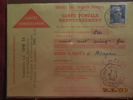 Carte De Remboursement De 1949 à Destination De Avajan - Marcophilie (Lettres)