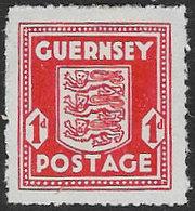 Guernsey SG2a 1943 Definitive 1d Pale Vermilion Mounted Mint [39/32284/25D] - Guernsey