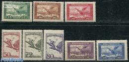 Hungary 1927 Airmail Definitives 8v, (Unused (hinged)), Nature - Birds - Nuevos