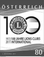 Austria 2017 - 100 Jahre Lions Clubs International (Schwarzdruck)onal' Black Proof Mnh - Blocs & Hojas