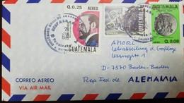 O) 1982 GUATEMALA, MUSICIAN JESUS CASTILLO, OWL, POPOL VUH -MYTHOLOGY K'ICHE PEOPLE, AIRMAIL TO GERMANY - Guatemala