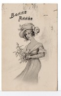 CPA - JEUNE FEMME - BONNE ANNÉE - Illustrateurs & Photographes